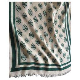 Autre Marque-Printed scarf ivory and dark green UNISEX Neuve-Eggshell,Dark green