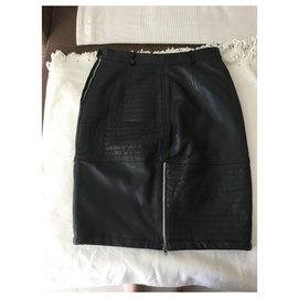 Jc De Castelbajac-JC leather pencil skirt by CASTELBAJAC for ICEBERG-Black