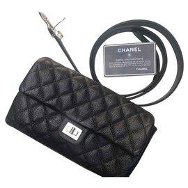 Chanel-CHANEL BAG GRAIN BLACK LEATHER BELT /-Black