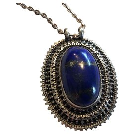 Autre Marque-Llapis lazuli cabochon set in silver with chain.-Blue