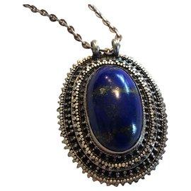 Autre Marque-Cabochon Llapis lazuli en argent avec chaîne.-Bleu