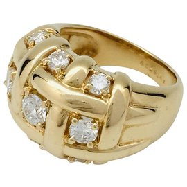 Van Cleef & Arpels-Van Cleef & Arpels dome ring in yellow gold and diamonds.-Other