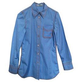 Prada-stitched blouse-Blue