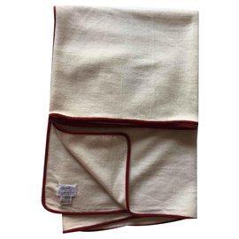 Hermès-Plaid cachemire Hermès de la collection Panama-Blanc cassé