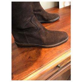 Chanel-CHANEL BOOTS-Dark brown
