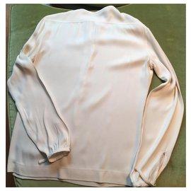 Hermès-Haut manches longues en soie écrue Hermès-Blanc cassé