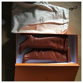Hermès-Bottes hautes-Marron clair