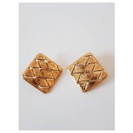 Yves Saint Laurent-Yves saint laurent boucles d'oreilles métal doré vintage-Doré