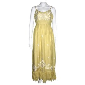 Temperley London-Lace embellished maxi dress-Yellow