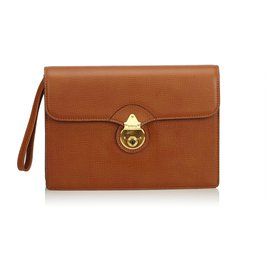 Burberry-Burberry Brown Leather Clutch Bag-Brown