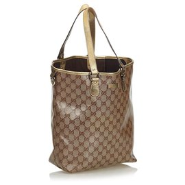 Gucci-Gucci Brown GG Supreme Sac cabas-Marron