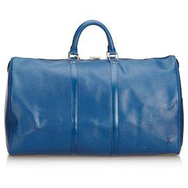 Louis Vuitton-Louis Vuitton Blue Epi Keepall 55-Blue