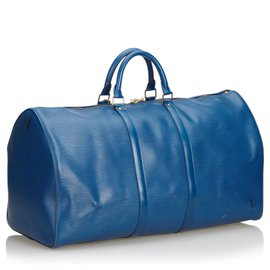Louis Vuitton-Louis Vuitton Blue Epi Keepall 55-Bleu