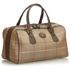 Burberry-Burberry Brown Plaid Canvas Travel Bag-Brown