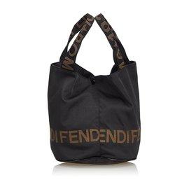 916de5330 Fendi-Fendi Black Nylon Tote Bag-Black ...