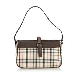 Burberry-Baguette Jacquard à carreaux brun Burberry-Marron,Multicolore,Beige