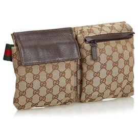 Gucci-Gucci Brown GG Toile Sac de ceinture en toile-Marron,Multicolore,Beige