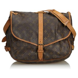 Louis Vuitton-Louis Vuitton Monogram Marron Saumur 35-Marron