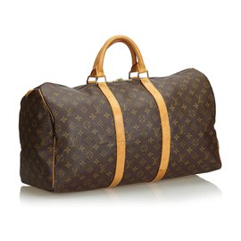 Louis Vuitton-Bandoulière Keepall Louis Vuitton Monogram Marron 50-Marron
