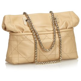 Dior-Dior Brown Cannage Leather Chain Shoulder Bag-Brown,Beige