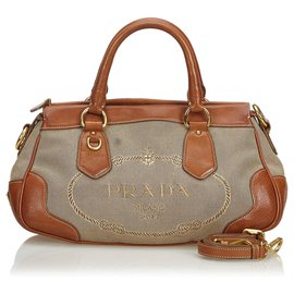 Prada-Prada Brown Cartable Jacquard Cartable-Marron,Beige,Marron foncé