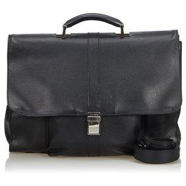 Gucci-Sac d'affaires en cuir noir Gucci-Noir