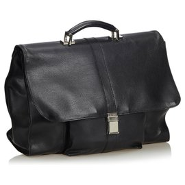 Gucci-Gucci Black Leather Business Bag-Black