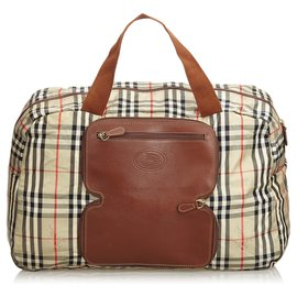 Burberry-Burberry Brown Plaid Leather Trimmed Duffle Bag-Brown,Multiple colors,Beige