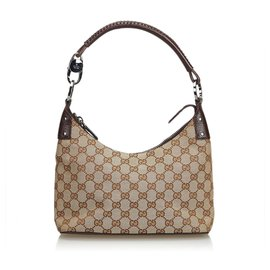 Gucci-Gucci Brown GG Jacquard Sac Hobo-Marron