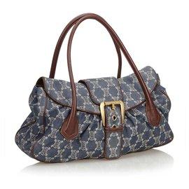 Céline-Celine Blue Macadam Denim Shoulder Bag-Brown,Blue,Other