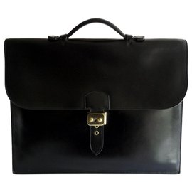 Hermès-DOCUMENT HOLDER MEN - BAG WITH DEPECHES - VINTAGE-Black