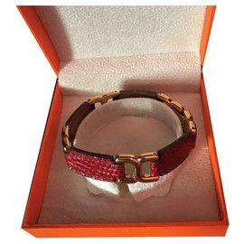 Hermès-Vintage Hermès Gold Plated Bracelet 18 carats and Bordeaux lizard-Dark red