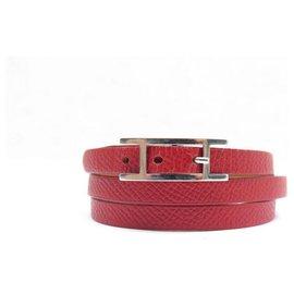"Hermès-Bracelet Hermès ""Hapi 3""en Palladium et Cuir Epsom Rouge-Rouge"
