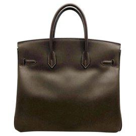 Hermès-Hermes Hac Birkin 36 en gris avec du matériel d'or-Gris anthracite