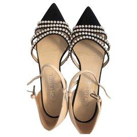 Chanel-Chanel Paris Pearl flats shoes EU38-Navy blue