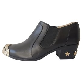 Chanel-Ankle Boots-Black,Golden