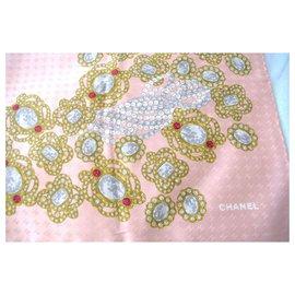 Chanel-Silk scarves-Pink,Dark red