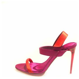 Burberry-Burberry Pink Satin Heeled Sandals-Pink,Orange