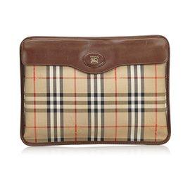 Burberry-Burberry Brown Jacquard Pochette-Marron,Multicolore,Beige