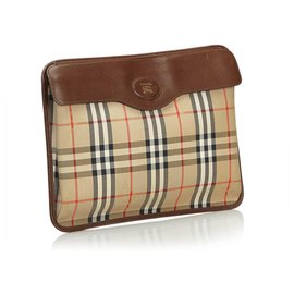 Burberry-Burberry Brown Plaid Jacquard Clutch-Brown,Multiple colors,Beige