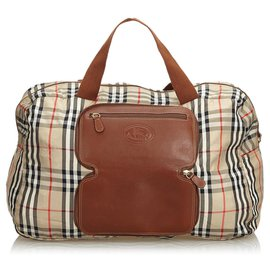 Burberry-Burberry Brown Plaid Canvas Duffle Bag-Brown,Multiple colors,Beige