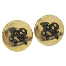Hermès-Boucles d'oreilles clip Hermier Sellier or-Doré