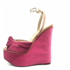Charlotte Olympia-Charlotte Olympia Pink Velour Platform Wedge Sandal-Pink