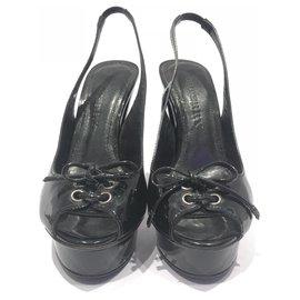 Burberry-Burberry Black Patent Peep-Toe Slingback Heels-Black