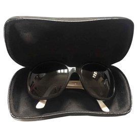 Chanel-Sonnenbrille-Schwarz,Weiß