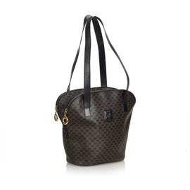 Céline-Celine Black Macadam Tote Bag-Brown,Black