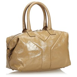 Yves Saint Laurent-Sac Easy Boston en cuir verni marron YSL-Marron,Beige