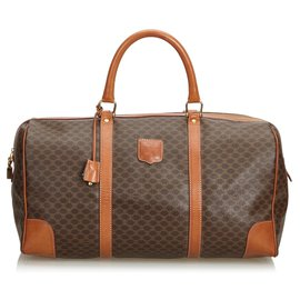Céline-Celine Brown Macadam Travel Bag-Brown