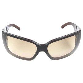 Chanel-Chanel Brown Oversized Wrap-Around Sunglasses-Brown,Dark brown