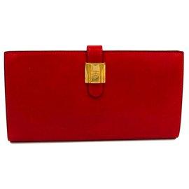 Hermès-Portefeuille Hermes Saumur Dianne Veau Rouge Bo-Rouge